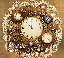 Steampunk Vintage Style Clocks and Gears by BluedarkArt