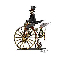 STEAMPUNK PENNY FARTHING BICYCLE (white) Photographic Print