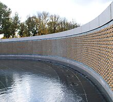 Fountain and Wall at the World War 2 Memorial by Suleyman Anadol