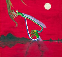 Full-moon Lover - Two Loving Dragonflies by Gwynith Lee