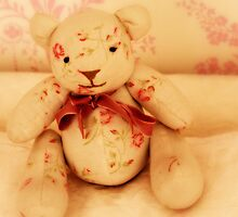 Fabric Pink Teddy Bear  by Porcupinejane