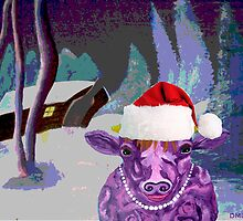 Pearl the Purple Cow waiting for Santa by Diane M. Lowe