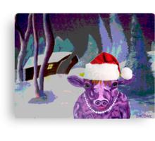 Pearl the Purple Cow waiting for Santa Canvas Print