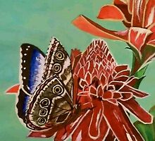 Emperor Morpho Butterfly and Torch Ginger by SoaringSpirit