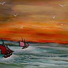Sailing into the sunset by George Hunter