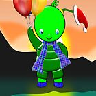 Merry Christmas Green Alien Boy card by Dennis Melling