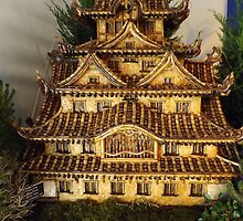 Model Castle of White Heron, Himeji, Japan, New York Botanical Garden Holiday Train Show, Bronx, New York  by lenspiro