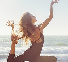 Yoga: Woman in Pigeon Pose by visualspectrum