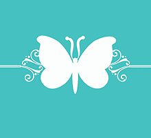 Turquoise Butterfly Swirls Design by superstarbing