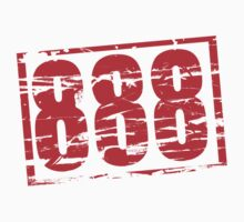 888 lucky number red rubber stamp effect by stuwdamdorp