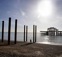 Pier Piles Sun Sea by Jazzdenski