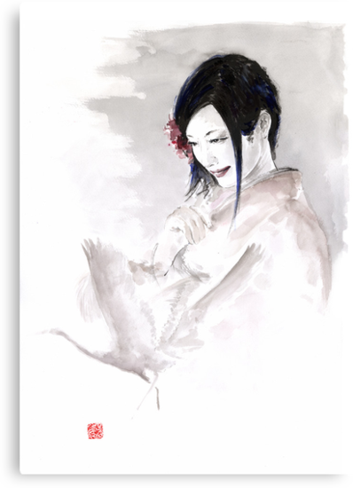 Geisha Japanese woman dream clouds crane bird portrait young girlsumi-e original painting art print by Mariusz Szmerdt