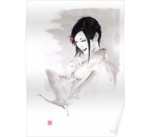 Geisha Japanese woman dream clouds crane bird portrait young girlsumi-e original painting art print Poster