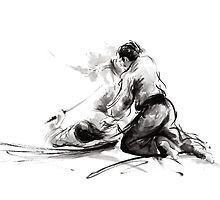 Samurai sword bushido katana martial arts budo sumi-e original ink painting artwork by Mariusz Szmerdt