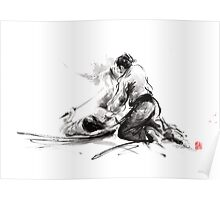 Samurai sword bushido katana martial arts budo sumi-e original ink painting artwork Poster