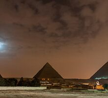 Giza Pyramids under the Moon by Michael Brewer