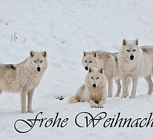 Arctic Wolf Christmas Card German 2 by WolvesOnly