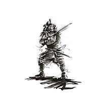 Samurai sword bushido katana martial arts sumi-e original ink armor yoroi painting artwork Photographic Print