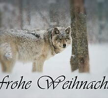 Timber Wolf Christmas Card German 5 by WolvesOnly