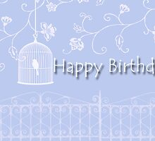 Pretty Lavender and White Birthday Card by longdistgramma