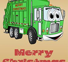 Christmas Card Garbage Truck Cartoon by Graphxpro