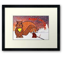 A Squirrel and Mouse Merry Christmas card Framed Print
