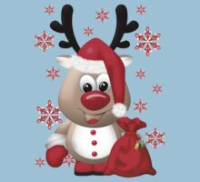 Red Nose Reindeer .. tee shirt by LoneAngel