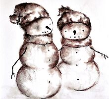 Snowman Art Original Drawing by mariakitano