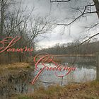 Season's Greetings Holiday Card - Red Gate At The Pond by MotherNature