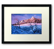 The Flatirons In Winter Blues And Pink Framed Print