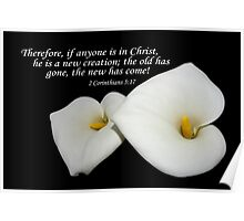 lovely lilies w/ 2 cor 5:17 Poster