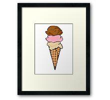 Three Scoop Ice Cream Cone Framed Print