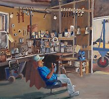 Rhodes Point Railway - Chris Marshall in his Shop by Phyllis Dixon