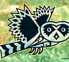 Pueo the Protector Hawaiian Owl Mixed Media by chongolio