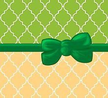 Ribbon and Bow, Moroccan Trellis Green White Orange by sitnica