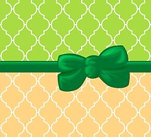 Ribbon, Bow, Moroccan Trellis - Green White Orange by sitnica