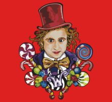 Willy Wonka with candy cartoons by threesecond