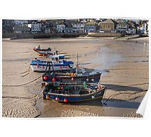 Low tide in St Ives harbour Cornwall Poster