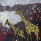 Giraffes in the snow by George Hunter