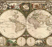 A New Map for All the World(1660) Brightly Colored by caljaysoc