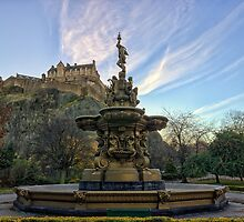 Sunrise Over Ross Fountain and Edinburgh Castle by Miles Gray
