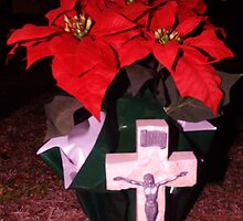 Poinsetta Cross Artistic Photograph by Shannon Sears by twobrokesistas