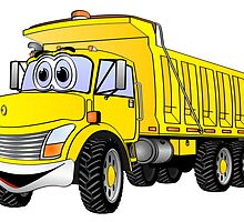 Dump Truck 3 Axle Yellow Cartoon by Graphxpro