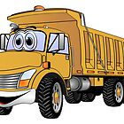 Dump Truck 3 Axle Gold Cartoon by Graphxpro