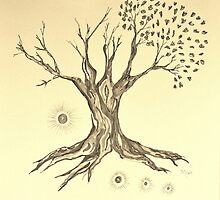 Growing Serenity Tree in Sepia by Mary-Jeanne Smith
