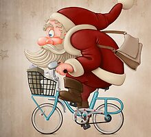 Santa Claus rides a bicycle by jordygraph