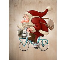 Santa Claus rides a bicycle Photographic Print