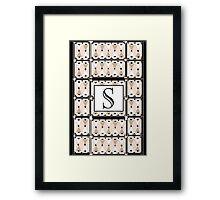 1920s Pink Champagne Gatsby Monogram letter S Framed Print