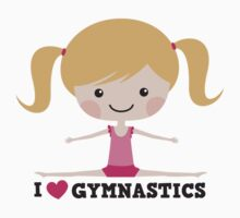 I love gymnastics cute blond cartoon girl doing the splits by MheaDesign