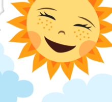 Cute laughing sun with blue clouds Sticker